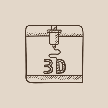 Tree D printing sketch icon for web, mobile and infographics. Hand drawn vector isolated icon. Vettoriali