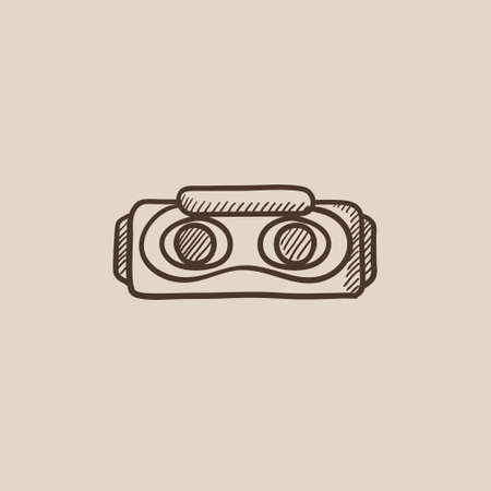multimedia icons: Virtual reality headset sketch icon for web, mobile and infographics. Hand drawn vector isolated icon. Illustration