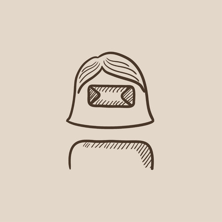multimedia icons: Woman wearing virtual reality headset sketch icon for web, mobile and infographics. Hand drawn vector isolated icon.