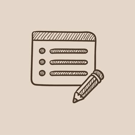hand pencil: Notepad and pencil sketch icon for web, mobile and infographics. Hand drawn vector isolated icon.