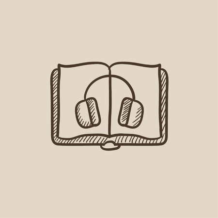 audiobook: Audiobook sketch icon for web, mobile and infographics. Hand drawn vector isolated icon.