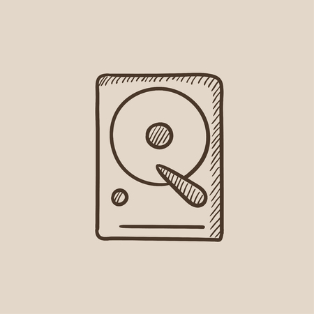 winchester: Hard disk sketch icon for web, mobile and infographics. Hand drawn vector isolated icon.