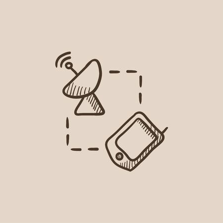 Navigator and satellite dish sketch icon for web, mobile and infographics. Hand drawn vector isolated icon.