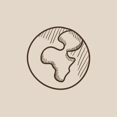 transnational: Globe sketch icon for web, mobile and infographics. Hand drawn vector isolated icon. Illustration