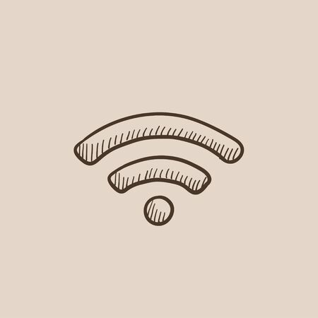 wireless icon: Wifi sign sketch icon for web, mobile and infographics. Hand drawn vector isolated icon.