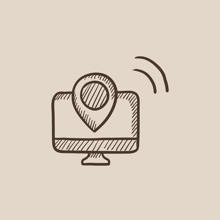 Computer monitor with pin sketch icon for web, mobile and infographics. Hand drawn vector isolated icon.