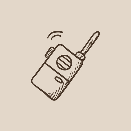 portable radio: Portable radio set sketch icon for web, mobile and infographics. Hand drawn vector isolated icon.
