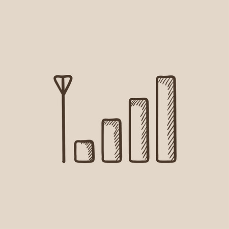Mobile phone signal sign sketch icon for web, mobile and infographics. Hand drawn vector isolated icon.