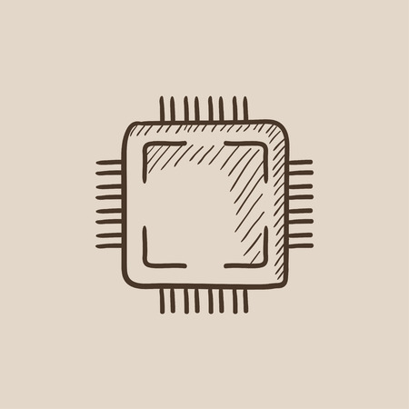 CPU sketch icon for web, mobile and infographics. Hand drawn vector isolated icon. Çizim