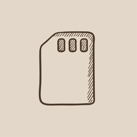 sim card: Sim card sketch icon for web, mobile and infographics. Hand drawn vector isolated icon.