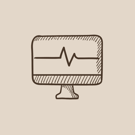 heart monitor: Heart beat monitor sketch icon for web, mobile and infographics. Hand drawn vector isolated icon.
