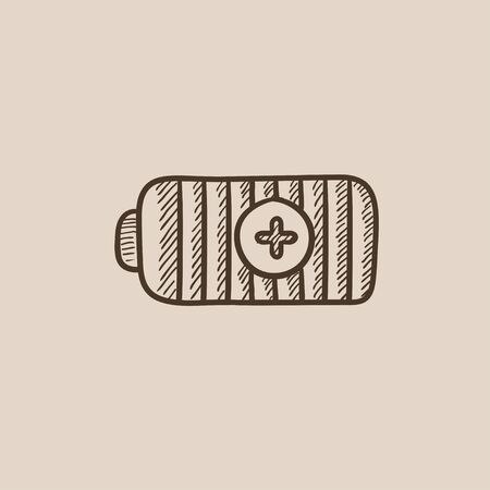 charged: Fully charged battery sketch icon for web, mobile and infographics. Hand drawn vector isolated icon.