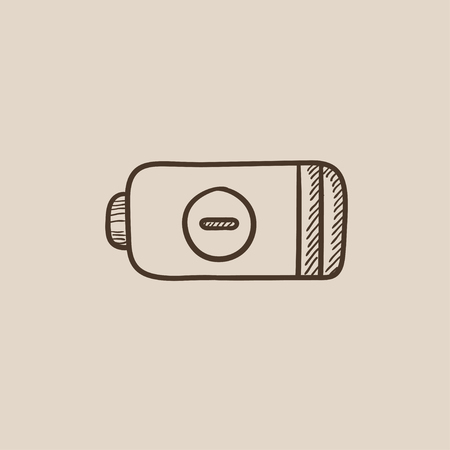 telephone pole: Low power battery sketch icon for web, mobile and infographics. Hand drawn vector isolated icon.