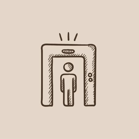 detecting: Man going through metal detector gate sketch icon for web, mobile and infographics. Hand drawn vector isolated icon.