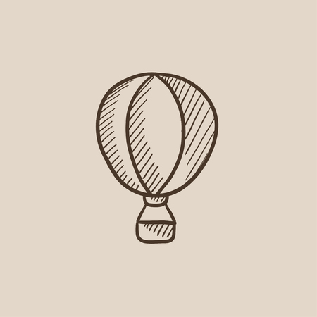 ballooning: Hot air balloon sketch icon for web, mobile and infographics. Hand drawn vector isolated icon.