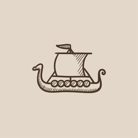 shallop: Old ship sketch icon for web, mobile and infographics. Hand drawn vector isolated icon.