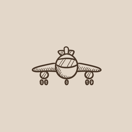 undercarriage: Airplane sketch icon for web, mobile and infographics. Hand drawn vector isolated icon.