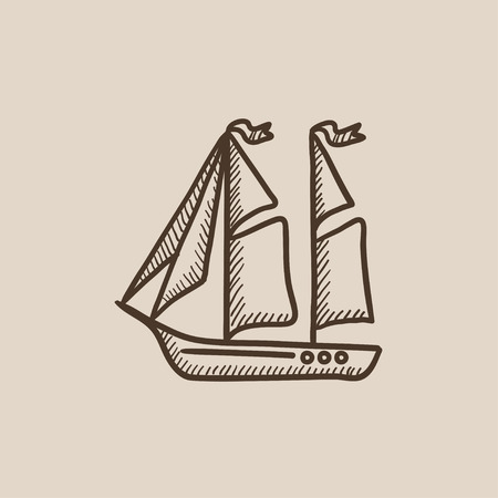 Sailboat sketch icon for web, mobile and infographics. Hand drawn vector isolated icon. Ilustracja