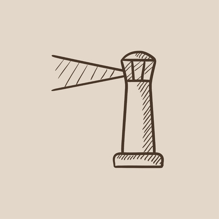 illuminative: Lighthouse sketch icon for web, mobile and infographics. Hand drawn vector isolated icon.