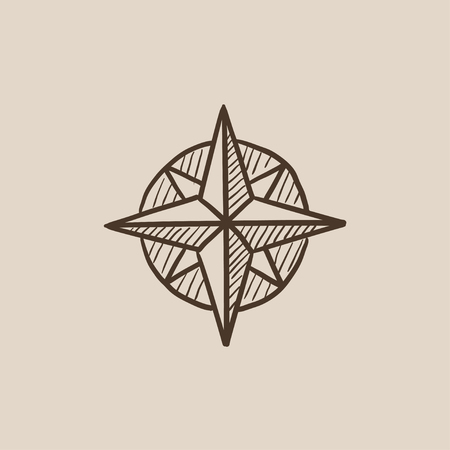 azimuth: Compass wind rose sketch icon for web, mobile and infographics. Hand drawn vector isolated icon. Illustration