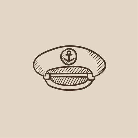 peaked: Captain peaked cap sketch icon for web, mobile and infographics. Hand drawn vector isolated icon. Illustration