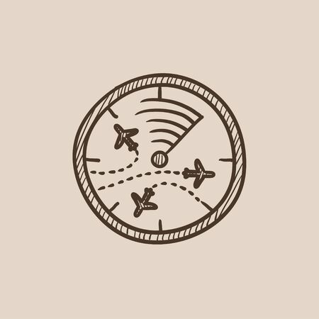 blip: Radar screen with planes sketch icon for web, mobile and infographics. Hand drawn vector isolated icon. Illustration