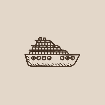 Cruise ship sketch icon for web, mobile and infographics. Hand drawn vector isolated icon. 向量圖像