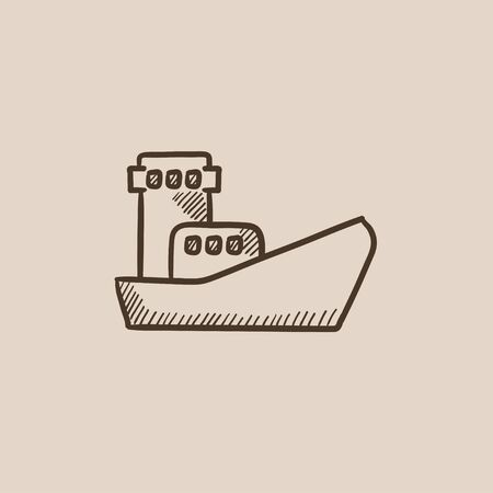 Cargo container ship sketch icon for web, mobile and infographics. Hand drawn vector isolated icon.