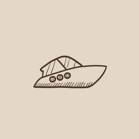 Speedboat sketch icon for web, mobile and infographics. Hand drawn vector isolated icon.
