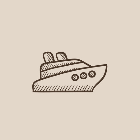 hull: Cruise ship sketch icon for web, mobile and infographics. Hand drawn vector isolated icon. Illustration