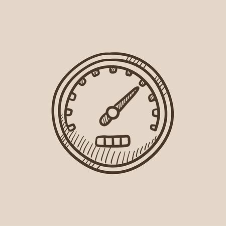 Speedometer sketch icon for web, mobile and infographics. Hand drawn vector isolated icon. Illusztráció