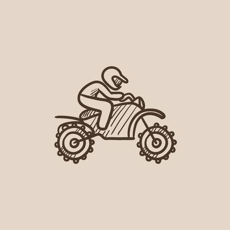 Man riding a motocross bike sketch icon for web, mobile and infographics. Hand drawn vector isolated icon. Illustration