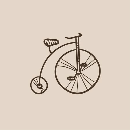 Old bicycle with big wheel sketch icon for web, mobile and infographics. Hand drawn vector isolated icon.