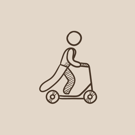 Man riding a kick scooter sketch icon for web, mobile and infographics. Hand drawn vector isolated icon.  イラスト・ベクター素材