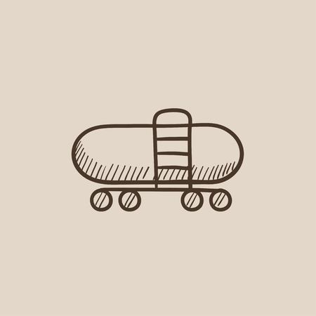 Railway cistern sketch icon for web, mobile and infographics. Hand drawn vector isolated icon.