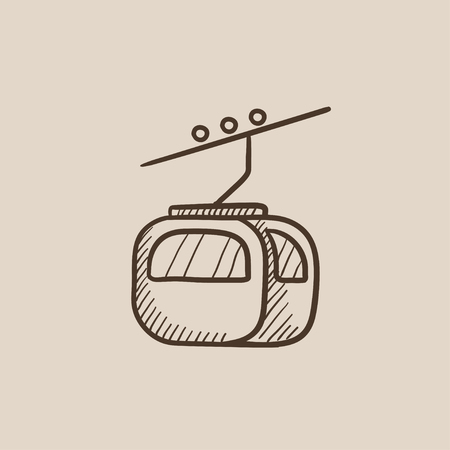 rope way: Funicular sketch icon for web, mobile and infographics. Hand drawn vector isolated icon.