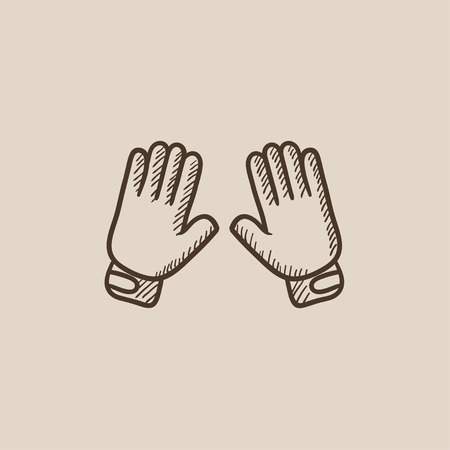 Motorcycle gloves sketch icon for web, mobile and infographics. Hand drawn vector isolated icon.