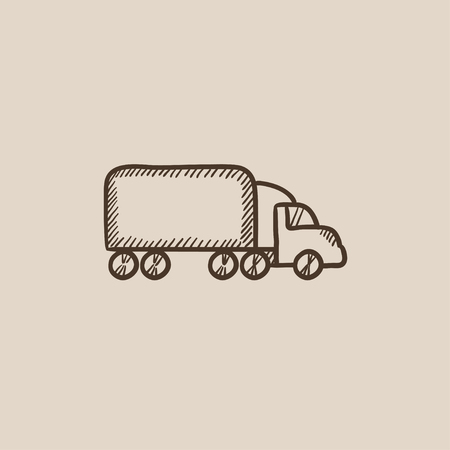 hand truck: Delivery truck sketch icon for web, mobile and infographics. Hand drawn vector isolated icon.