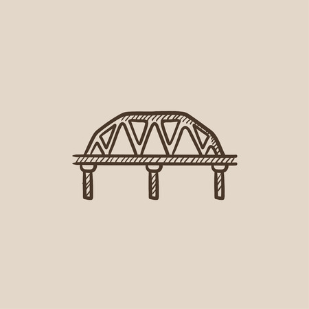hand rail: Rail way bridge sketch icon for web, mobile and infographics. Hand drawn vector isolated icon.