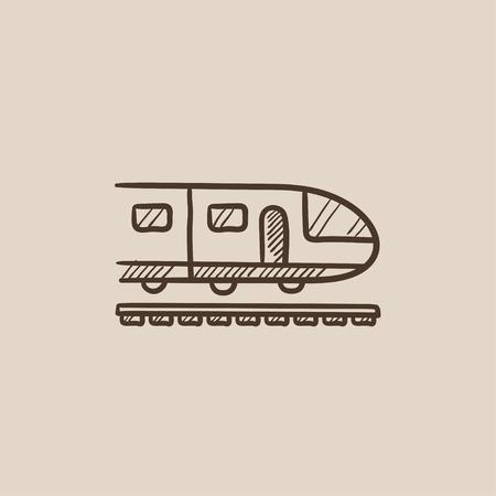 現代の高速鉄道は、web、モバイルのアイコンとインフォ グラフィックをスケッチします。手には、ベクトル分離アイコンが描画されます。