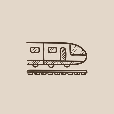 Modern high speed train sketch icon for web, mobile and infographics. Hand drawn vector isolated icon. Иллюстрация