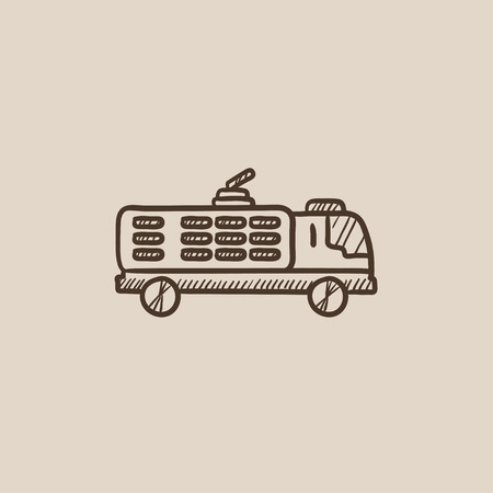 hand truck: Fire truck sketch icon for web, mobile and infographics. Hand drawn vector isolated icon.