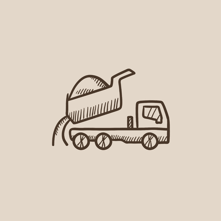 quicksand: Dump truck sketch icon for web, mobile and infographics. Hand drawn vector isolated icon.