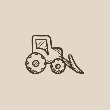 Bulldozer sketch icon for web, mobile and infographics. Hand drawn vector isolated icon.