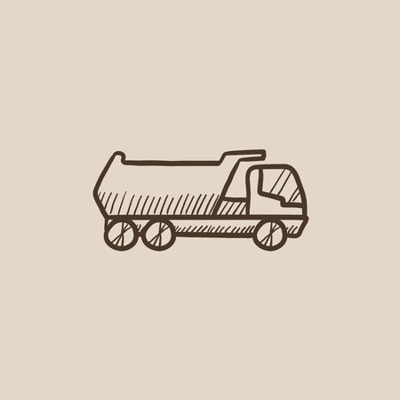hand truck: Dump truck sketch icon for web, mobile and infographics. Hand drawn vector isolated icon.