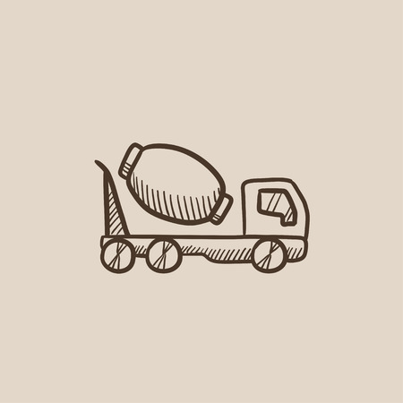 concrete mixer truck: Concrete mixer truck sketch icon for web, mobile and infographics. Hand drawn vector isolated icon.