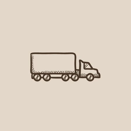 waggon: Delivery truck sketch icon for web, mobile and infographics. Hand drawn vector isolated icon.