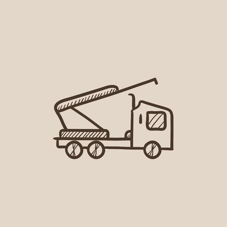 Machine met een kraan en wiegen schets pictogram voor web, mobiel en infographics. Hand getrokken vector geïsoleerde pictogram.