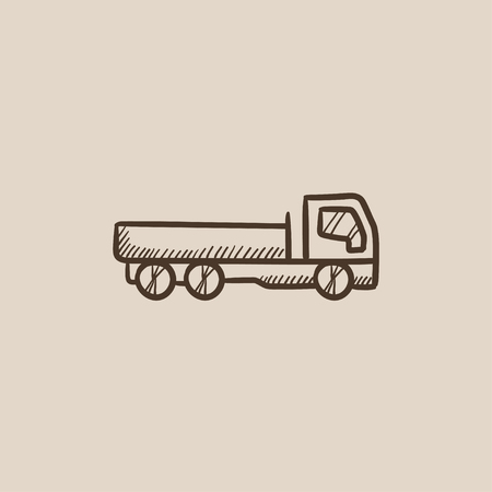 Dump truck sketch icon for web, mobile and infographics. Hand drawn vector isolated icon.