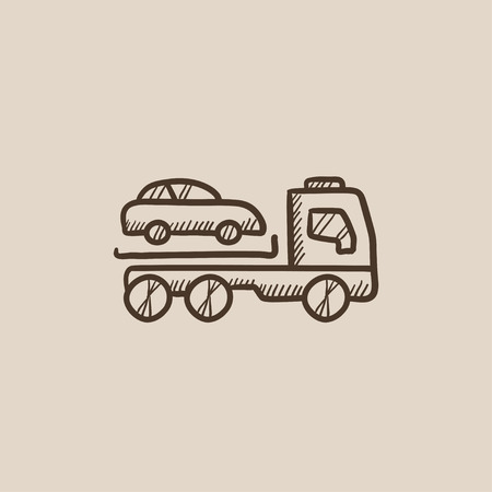 Car towing truck sketch icon for web, mobile and infographics. Hand drawn vector isolated icon.